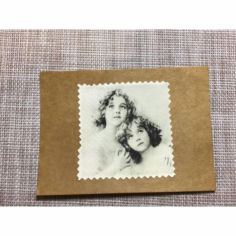 Nostalgische Postkarte schwarz weiß, Kraftpapier Bild 1