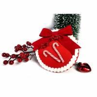 Fascinator Weihnachtszeit Headpiece rot Retrostyle  Bild 1