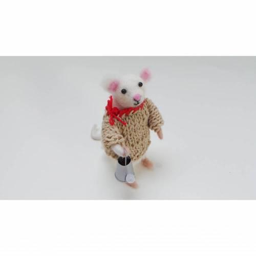 weiße Maus als Gutscheinbringer für Gartenfreunde, Mäuse gefilzt, Weihnachtsdeko, Dekorationsartikel Weihnachten