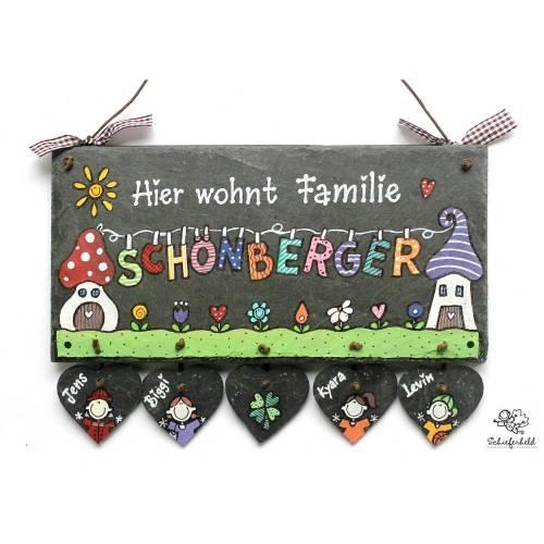 Weihnachtsgeschenk Türschild Schiefer Namensschild Wäscheleine handbemalt individuell personalisiert mit Herzanhängern, Geschenk für Männer und Frauen