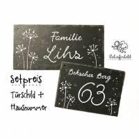 Set Schiefertürschild + Hausnummer, handbemalte Schiefertafel Pusteblume handbemalt individuell personalisierbar Bild 1
