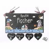 Geschenk Hochzeit Schiefer Türschild Maritim handbemalt individuell personalisiert mit Herzanhänger Bild 1
