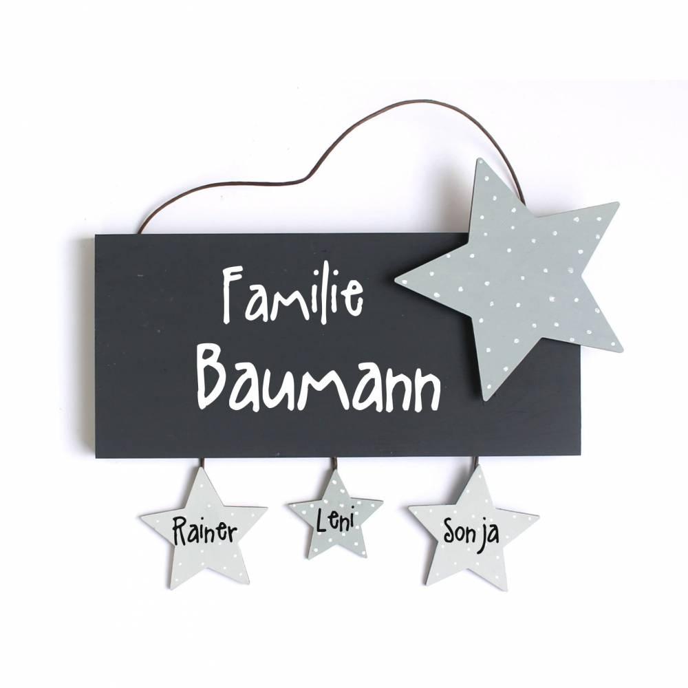 Unikat personalisiertes Türschild Familie mit Sternanhänger Holz Bild 1
