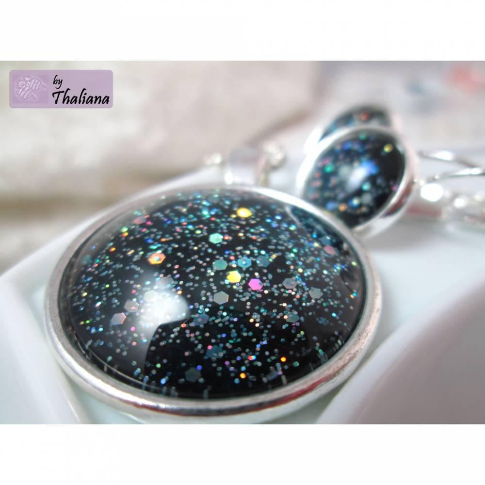 GLITZERSET Galaxy Schwarz Petrol Schmuckset aus Ohrringen und Halskette Bild 1
