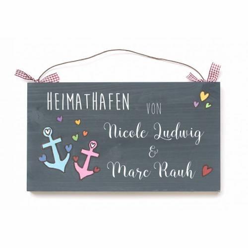 Türschild Familienschild Namensschild Paar Hochzeit MARITIM Anker Holzschild von Hand bemalt Unikat individuell personalisiert Heimathafen