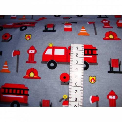 Baumwolljersey Feuerwehr , Stoffe für Jungen, Stoff Feuerwehr, Baumwolljersey Feuerwehrauto, Stoffe Jersey, Jersey Stoff Kinder