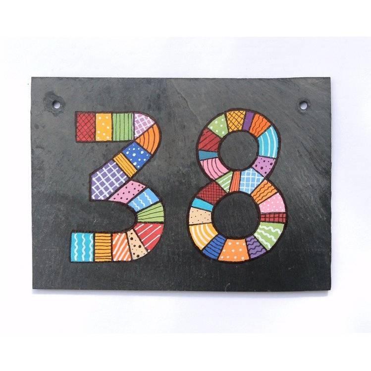 Hausnummer Schiefer Patchwork Doppelnummer Bild 1