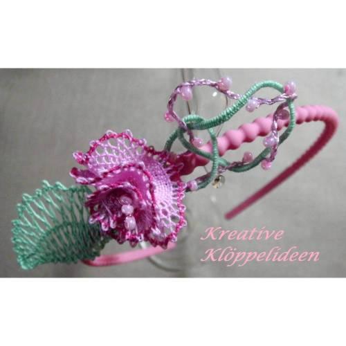 Haarschmuck fürs Blumenkind rosa Haarreif Hochzeit geklöppelt Handarbeit