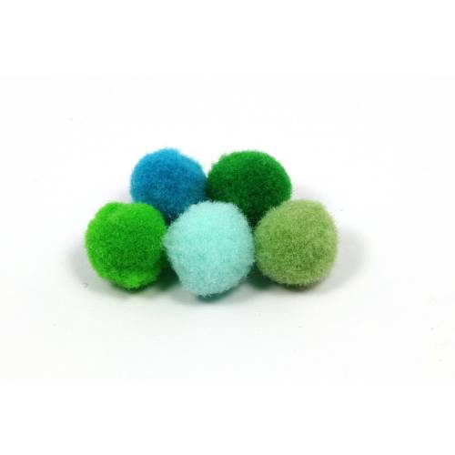 Mini-Pompons, blau-grün, Mix, 10mm, 40 Stück