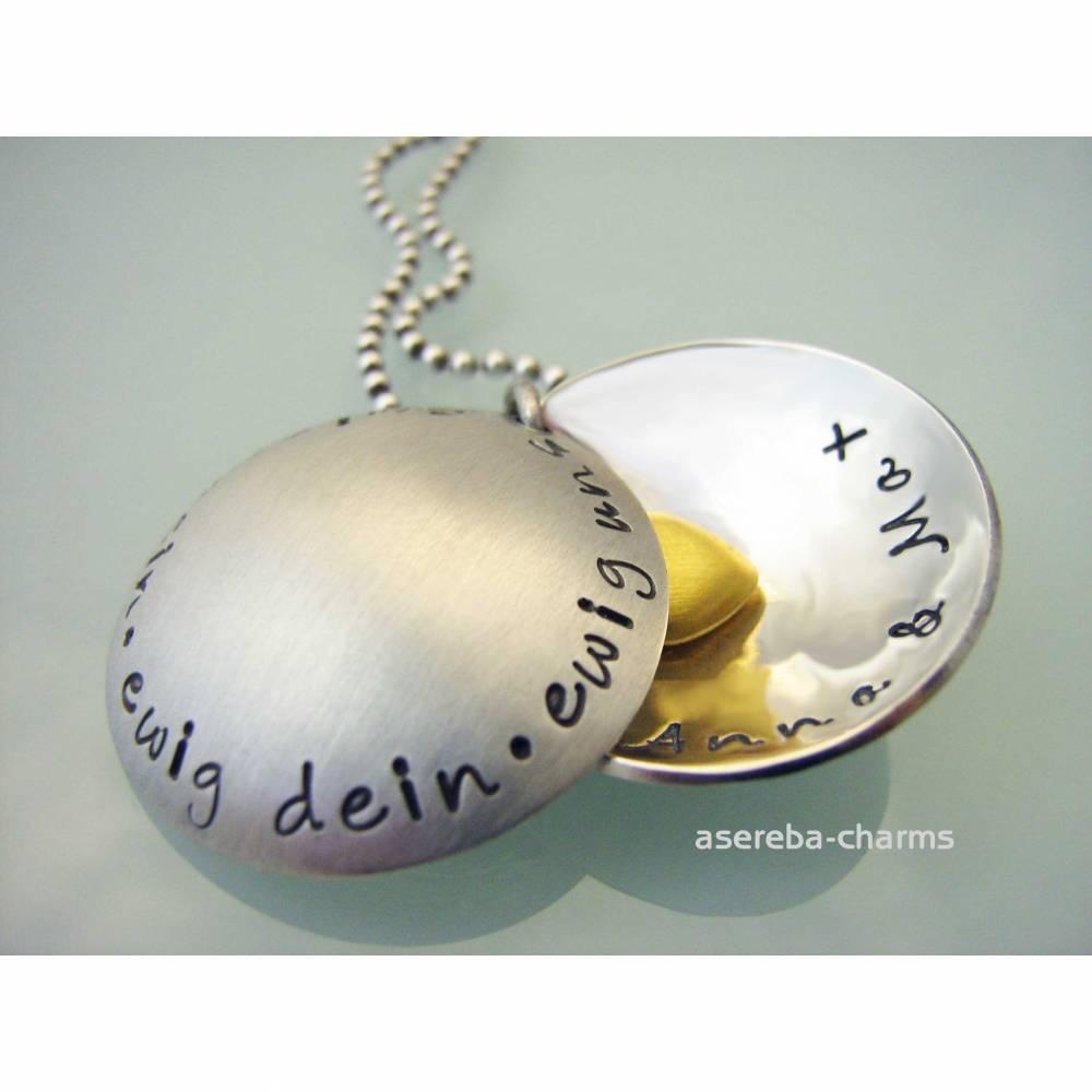 """Medaillonkette """"ewig dein - ewig mein - ewig uns"""" (innen mit zwei Namen und ein Herz) Bild 1"""
