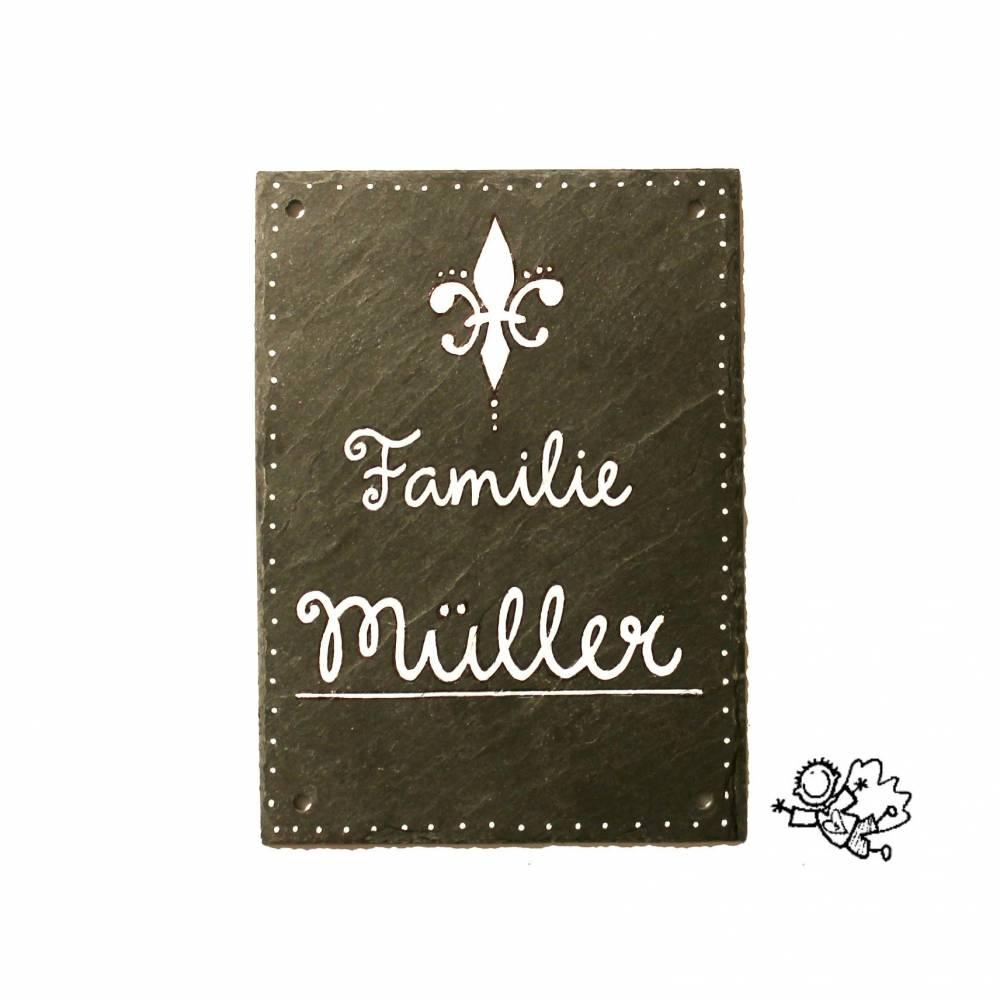 Schiefer Türschild Französische Lilie handbemalt individualisierbar Bild 1
