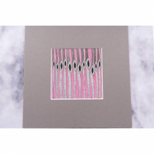 Kunst Zeichnung art abstrakt Geometrie Illustration Dekoration Wohnen Wanddekoration Blumen rosa decor Tusche Fineliner Art