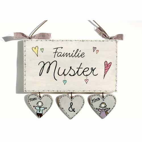 Türschild Familie Namensschild Holz Haustürschild Familienschild mit Herzanhänger von Hand bemalt in 4 Varianten, individuell personalisiert