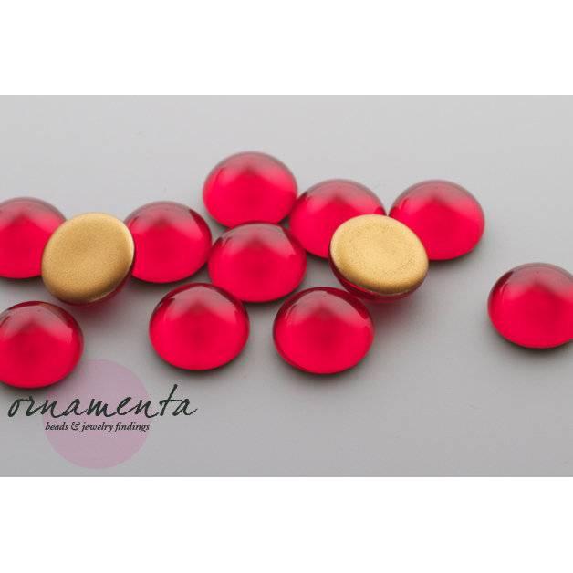 6 Cabochons ~ 12mm ~ siam rot ~ Glas ~ Material zur Schmuckherstellung Bild 1