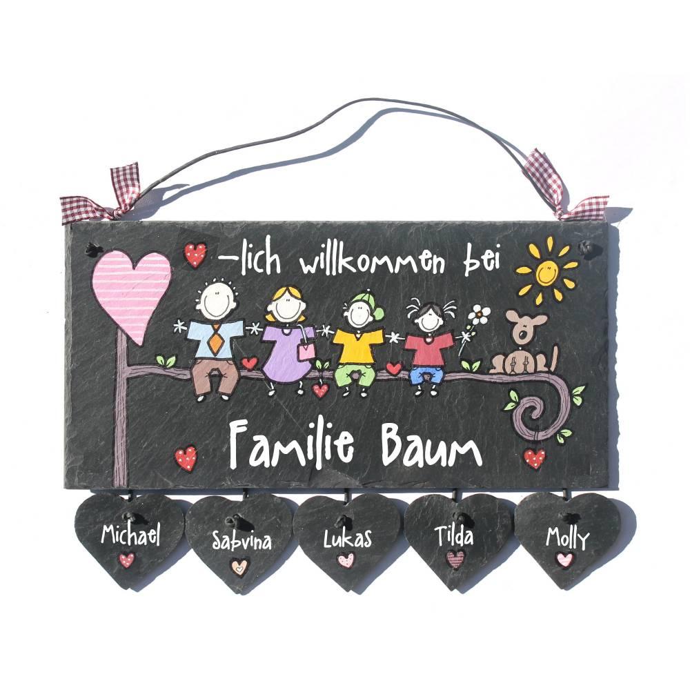 Türschild Schiefer personalisiert, Familientürschild, Unikat Namensschild Familie, Haustürschild, Familienschild,Türschild Haustür mit Herzanhänger Bild 1