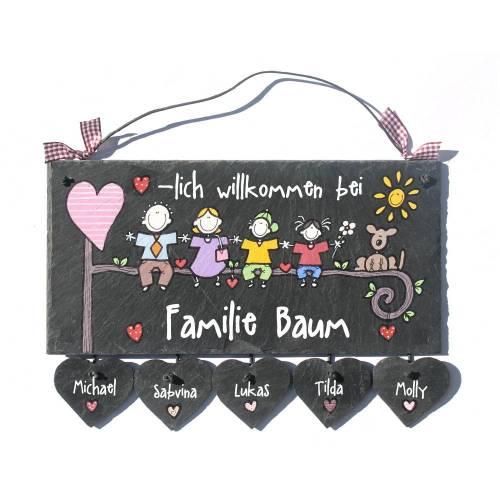 Türschild Schiefer personalisiert, Familientürschild, Unikat Namensschild Familie, Haustürschild, Familienschild,Türschild Haustür mit Herzanhänger