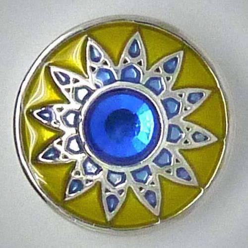 Click-Button, Blume mit Strass, 20mm