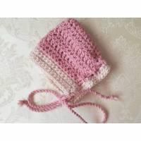 Pixie, Zwergmütze aus Alpaka mit Wolle, für Neugeborene, rosa, wollweiß, gehäkelt Bild 1