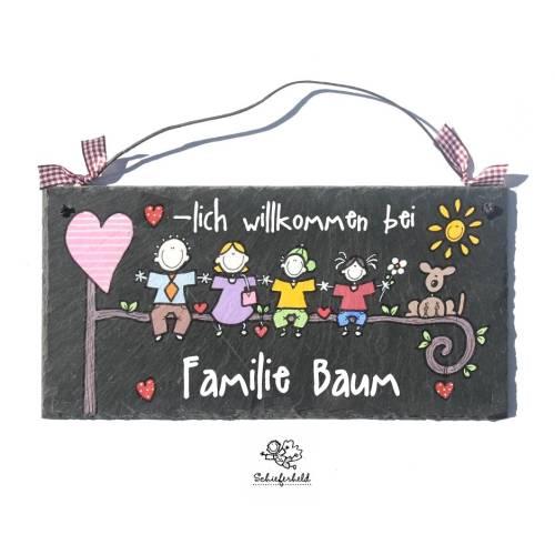 Türschild personalisiert Schieferschild Familie Namensschild Schiefertürschild handbemalt Haustürschild Schiefertafel Familientürschild