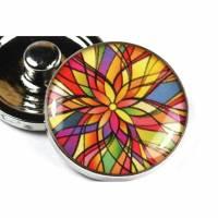 Druckknopf, bunt, Mandala, Blumen, 20mm Bild 1