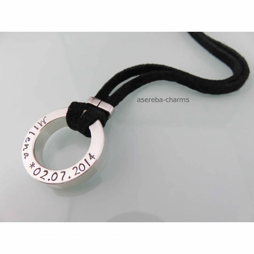 Massiver Statement-Ring zum Tragen an Lederband oder Silberkette (mit Gravur z.B. Name, Datum, Spruch) Bild 1