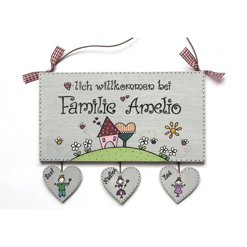Shabby Türschild Holz Familie personalisiert mit Herzanhänger Holzschild Familienschild Haustürschild Eingangsschild Bild 1
