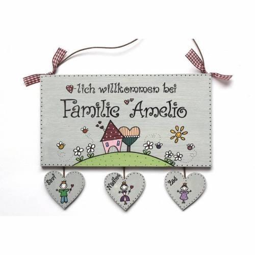 Shabby Türschild Holz Familie personalisiert mit Herzanhänger Holzschild Familienschild Haustürschild Eingangsschild