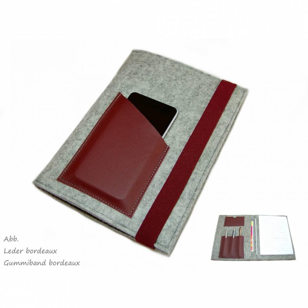 Organizer inkl. Din A5 Block Wollfilz Filz Leder Farbauswahl / Geschenk für Sie / Geschenk für Ihn Bild 1