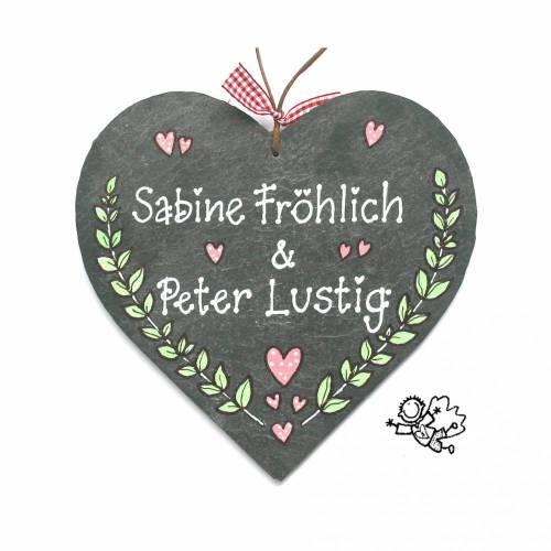 Hochzeitsgeschenk Schieferherz Türschild handbemalt handbeschriftet mit Wunschnamen individuell personalisierbar