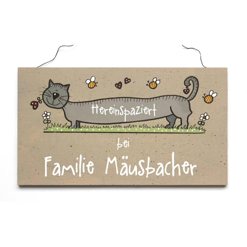 Shabby Türschild Katze Wunschtext Bild 1