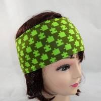 Stirnband grün, oliv mit Puzzlesteile Bild 1
