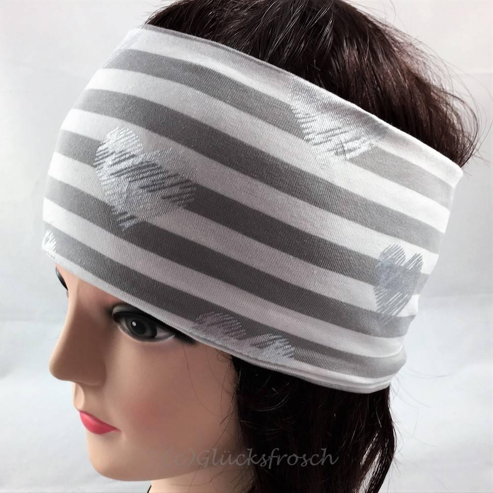 Stirnband mit silberfarbenen, funkelnden Herzen und weiß grau gestreift Bild 1