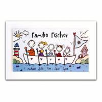 Türschild Familie Namensschild Holz Haustürschild Familienschild Boot Schiff handbemalt individuell personalisiert Bild 1