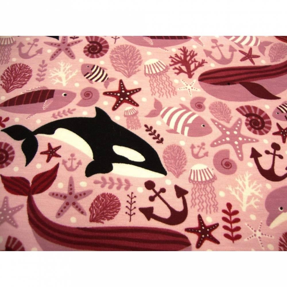 Baumwolljersey maritim unter dem Meerestiere hellrosa Bild 1