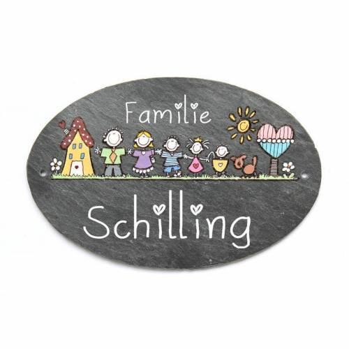 Türschild Familie ovale Schieferplatte von Hand bemalt mit Motiv und Euren Wunschfiguren individuell personalisiertes Familienschild