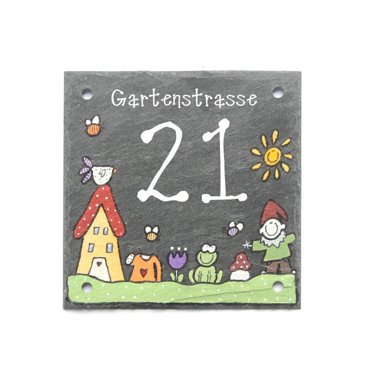 Hausnummer Schiefer, Schieferhausnummer, Designerhausnummer, handbemalt, personalisiert, wetterfest, Adressschild Bild 1