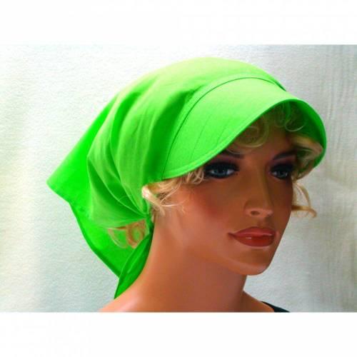 Kopftuch hellgrün mit Schild Schirmmütze Sommer Chemo Cabriotuch Alopezie beige, rot, hellgrün, lila, schwarz