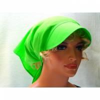 Kopftuch hellgrün mit Schild Schirmmütze Sommer Chemo Cabriotuch Alopezie beige, rot, hellgrün, lila, schwarz  Bild 1