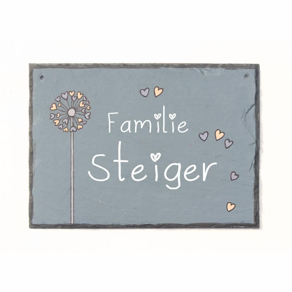 Türschild Pusteblume personalisiert, Namensschild Familie, Schiefertürschild, Familienschild, Schieferschild, Haustürschild Schiefer, Eingangsschild Bild 1