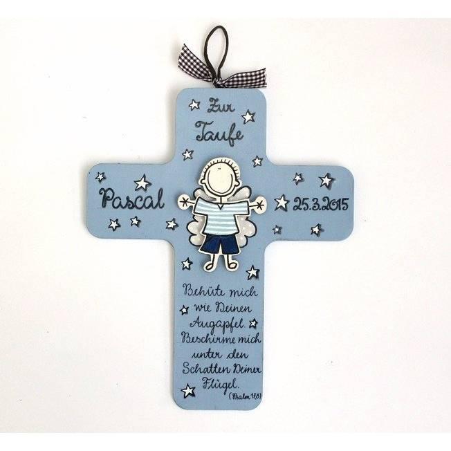 Taufkreuz Schutzengelkreuz Kinderkreuz Holzkreuz Geschenk zur Taufe Geburt Kommunion individuell personalisiert handbemalt Bild 1