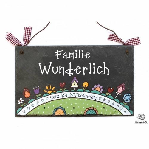 Geburtstagsgeschenk für Frauen, Türschild Schiefer Wundergarten II handbemalt individuell personalisiert, Schieferschild, Familientürschild, Schiefertürschild