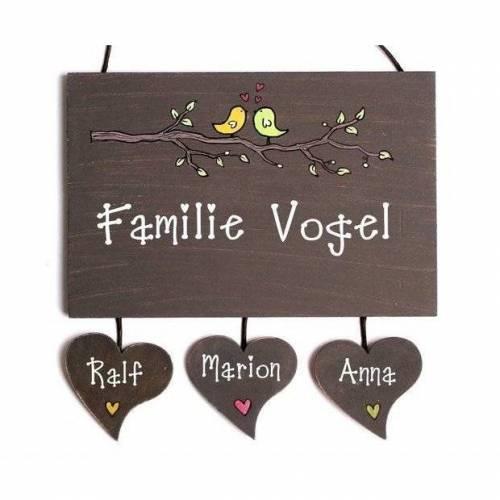 Türschild Holz personalisiert Namensschild Vögel Familientürschild handbemalt Holzschild Wunschnamen mit Herzanhänger