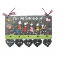 """Türschild Schieferplatte Namensschild """"Familientandem"""" handbemalt individuell personalisiert Bild 1"""