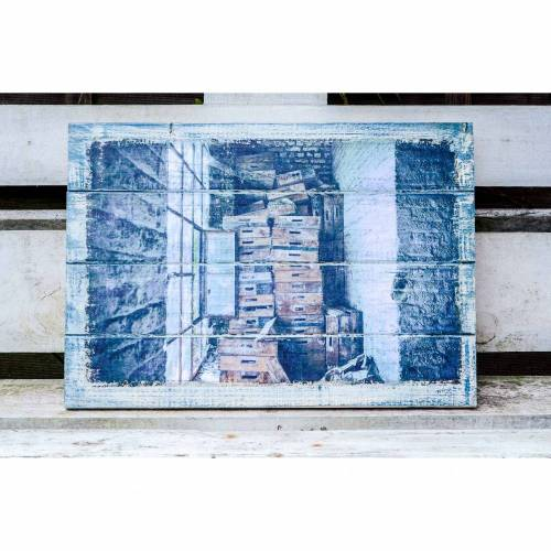 das Fenster Holzkisten Holzdruck Foto auf Holz, Wanddeko Shabby Style vintage retro modern Dekoration Wandbild