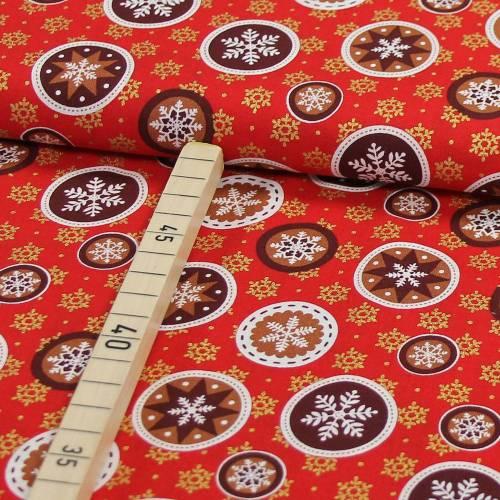 Baumwolle Weihnachten Schneeflocke Weihnachtskugel auf rot