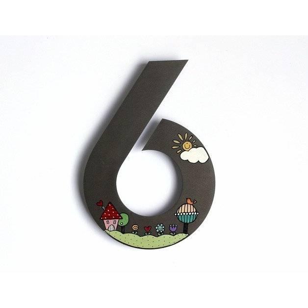 Hausnummer Edelstahl 20cm Wunderland, Edelstahlhausnummer, Designerhausnummer, handbemalt, personalisiert, wetterfest, Unikat individuell Bild 1