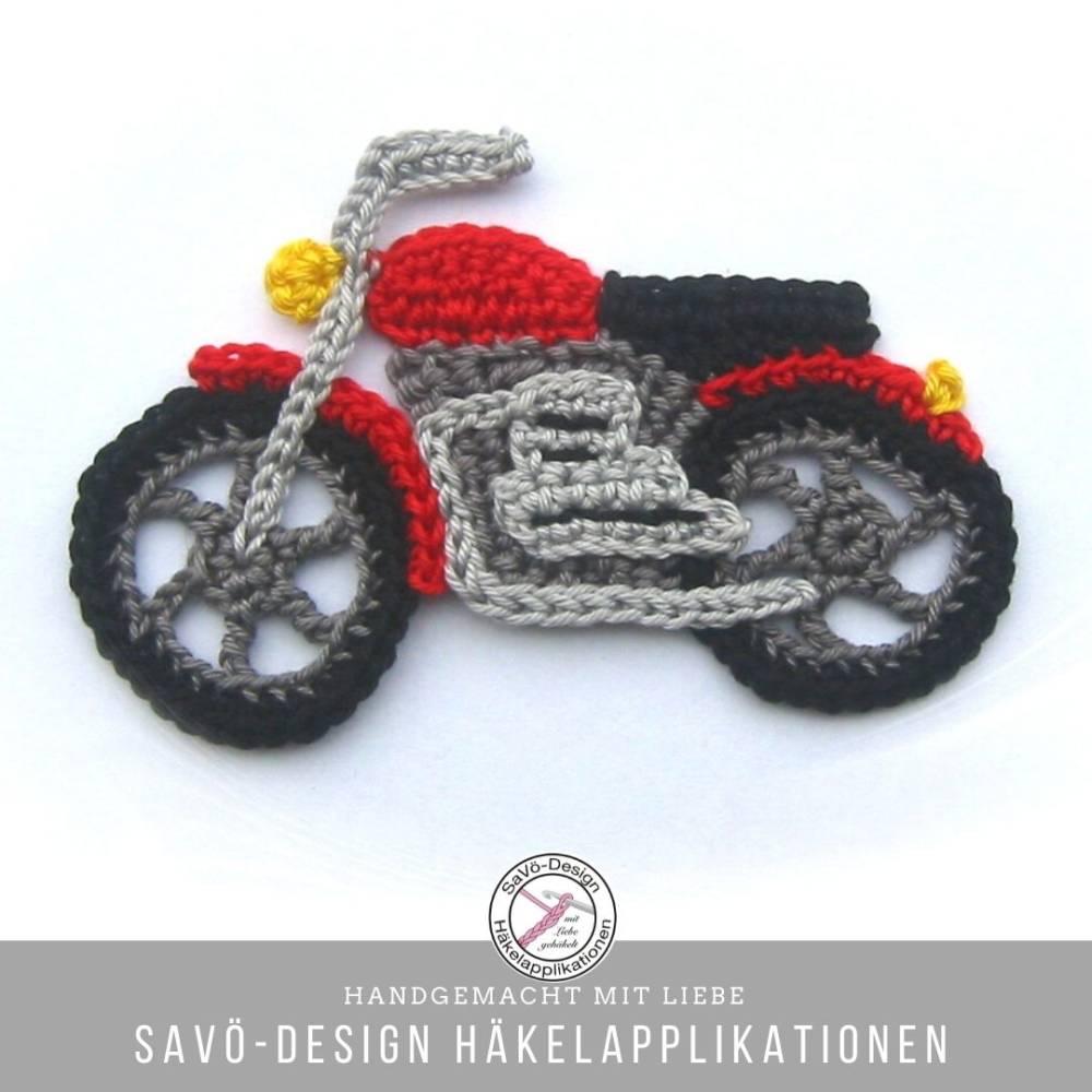Motorrad Applikation Häkelapplikation Bild 1
