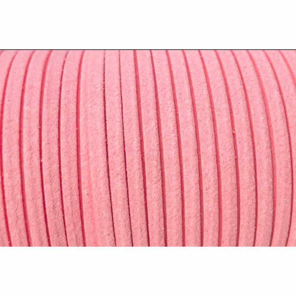 Veloursband, Wildlederoptik, rosa, 3mm, 5 Meter Bild 1
