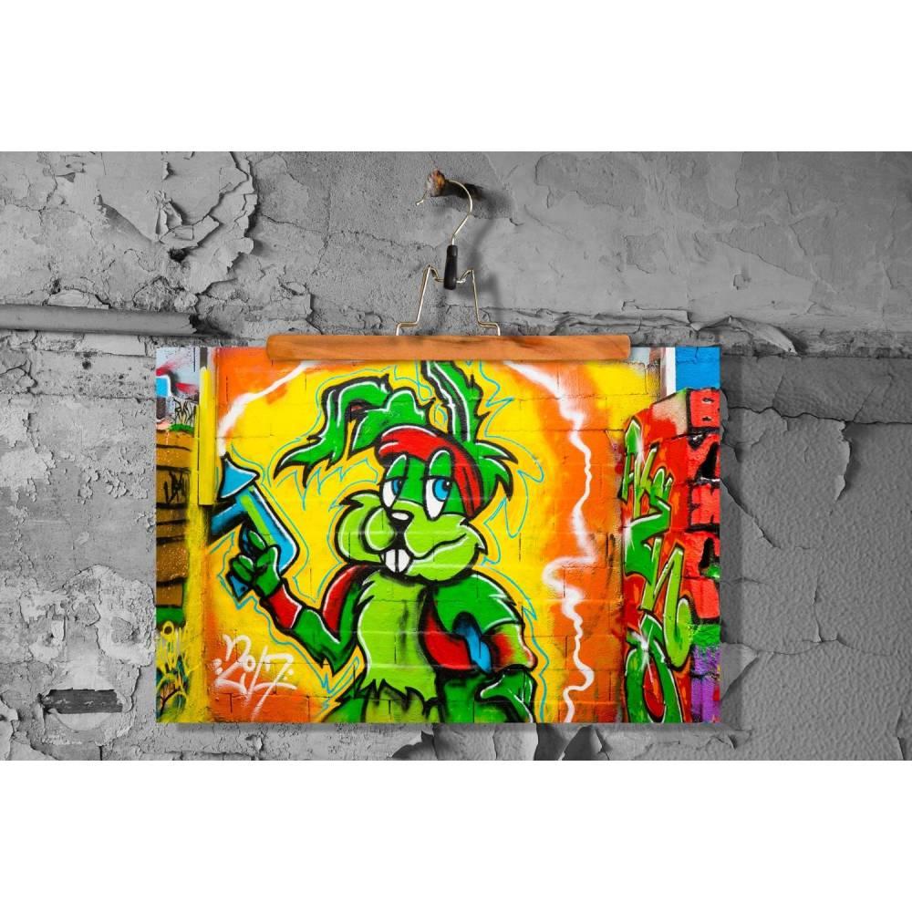 Graffiti Hase Comic Fineart Print Poster Pearl Bild 1