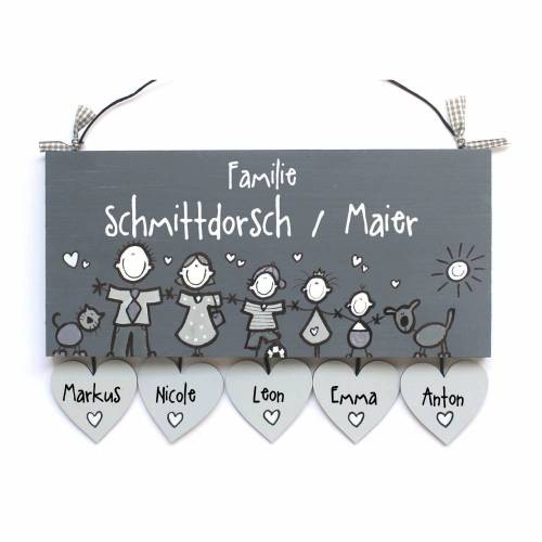 Türschild Familie personalisiert mit Herzanhänger Namensschild Grautöne Familientürschild Wunschfiguren Holztürschild erweiterbar